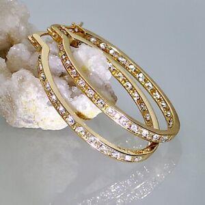 Women Silver Crystal Rhinestone Hoop Dangle Earrings Wedding Jewellery New