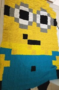 Large Handmade Knitted Despicable Me Minion Throw Rug 178 Cm Length So COOL!