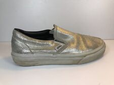 VANS WOMENS CLASSIC SLIP ON SILVER SNEAKER SZ 36 GOOD CONDITION