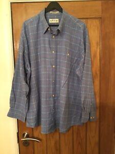 ORVIS Blue Button Down Collar Check Shirt XXL