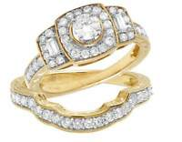 14K Yellow Gold Halo Solitaire Cluster Genuine Diamond Engagement Ring Set 1.0ct