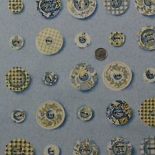 "DURALEE ANNABELL PORCELAIN BLUE ASSORTED BUTTONS 100% COTTON FABRIC BY YARD 54""W"