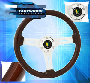 Universal Deep Dish Steering Wheel Wood Grain Yellow Green Leaf Button Assembly