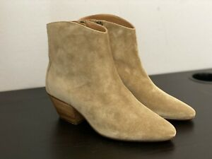ISABEL MARANT DACKEN TAUPE SUEDE LEATHER ANKLE BOOTS, SIZE 36