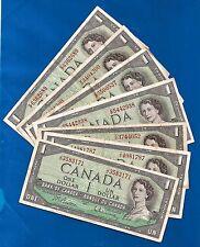 7 CANADA 1954 same signature set Canadian one 1 DOLLAR BILLS NOTES circulated