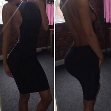 femme sexy extensible transparent robe fin Mini KTV Ultra Fin dos-nu Noire M