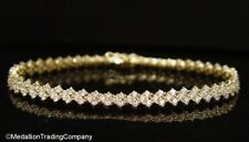 QVC 14k Yellow Gold Diamonique CZ Chevron Cluster Tennis Bracelet 11.1 grams