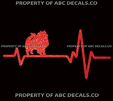 Heart Beat Line Dog Keeshond German Spitz Love Adoption Rescue Car Metal Decal