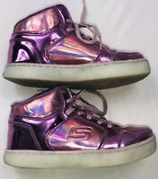 Skechers Girls Energy Lights Shiny Bright Purple High Top Sneaker Shoes Size 2.5