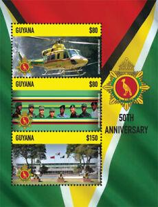 Guyana - 2014 - Defense Force 50th Anniversary - Sheet Of 3 - MNH