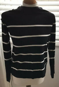 Warehouse Black With White Stripes Brand New With Tags Size 8 Buttoned Sleeves