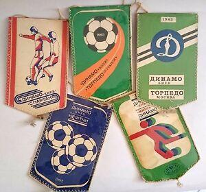 Footbal Club динамо киев Dynamo Kiev Vintage Lot of 5 Player Pennant Flag 1982