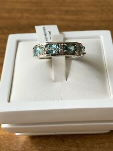 Blue & White Zircon Ring In Rhodium Overlay On 925 Sterling Silver Size P