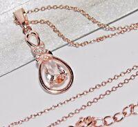 9ct Rose Gold on Silver Morganite & Diamond Dropper Pendant & Chain