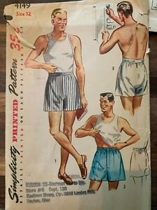 1940's Simplicity 4149 Sewing Pattern Mens Boxer Shorts size 32