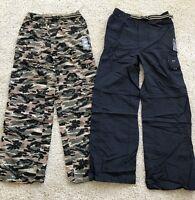 2 Gander Mountain Boys Convertible Cargo Pants Shorts Blue & Camo  NWT Size XS