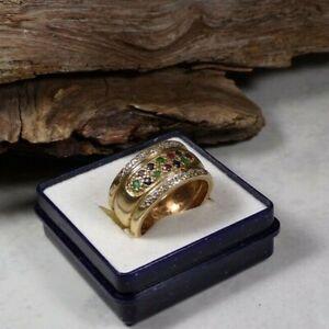 D28-86 / eleganter Ring 14 K  GG bunte Steine und Diamantspl. Bandring Gr.ca. 57