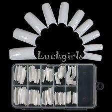 100 Pcs White  False Tip French Boxed Kit Acrylic Nail Art Tips  DIY  Case Set