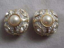 SWAROVSKI GOLD PL CLIP EARRINGS W/ PEARL & ROUND & MARQUISE WHITE CRYSTALS