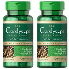 Cordyceps Sinensis Mushroom 1500mg 2X60 Caps- Cordycepic Acid by Puritan's Pride