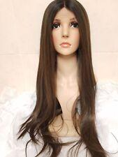Long Brown Grey Green Tint Human Hair Wig Lace Front Real Hair
