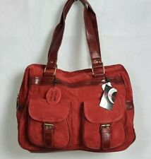 DOMO Ladies Red Satchel Bag Genuine Leather Suede 1561-01 SK192 AA 03