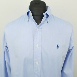 Ralph Lauren Men Shirt 15.5 34/35 LARGE Long Sleeve Blue Classic Fit Herringbone