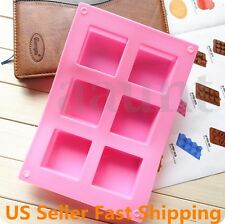 6 Cavity Square Bar Soap Bake Mold Silicone Mould Tray Homemade Craft DIY NEW US