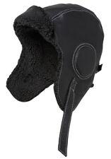 Parte superior de cuero suave Negro Sombrero De Aviador sueco