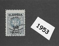 #1953   10 Mark Used stamp 1923 Memel Lithuania / Prussia / Third Reich Germany