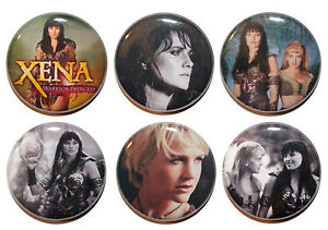 "1"" (25mm) **Set of 6** Xena Warrior Princess Button Badge Pins - High Quality"