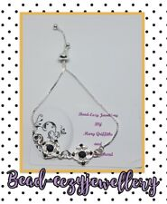 Silver Plated black & white flower Slider adjustable Bracelet
