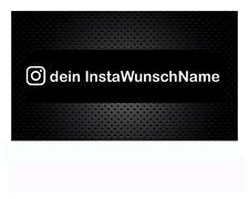 2 x Instagram WUNSCHTEXT, 20cm oder 15cm Breite Name Spruch Domainaufkleber