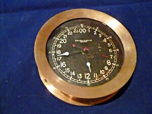 Vintage Brass Chelsea Ships Clock Maritime Black Dial
