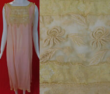 Vintage Pink Silk Cream Embroidered Lace Lingerie Chemise Nightgown Slip Dress