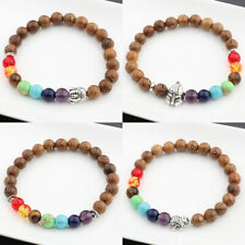 Handmade Natural Wooden 8mm Beaded Bracelets Women Mens Charm Jewelry Adjustable