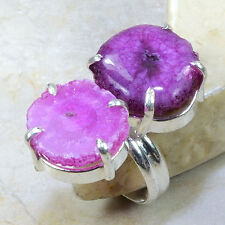 PRETTY GENUINE NEW RARE UNIQUE PINK AND PURPLE SOLAR QUARTZ SILVER RING SIZE 7