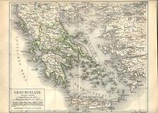 Carta geografica antica GRECIA GREECE 1890 Old antique map