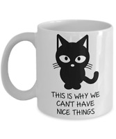 Microwaveable Cat Mug-Funny Cartoon Coffee Cup-Gift for Kitty Lovers-Black on Wh