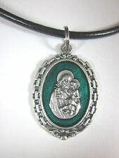 "Large St Joseph Medal Green Enamel Italy Necklace 18"" - 20"" Leather Cord"