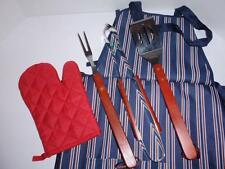 5 Piece BBQ (Barbeque) Set - with Tongs, Fork, Spatula, Mitt & Apron - NEW