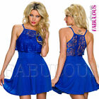Sexy European Lace Detail Mini Dress Summer Party Casual Evening Size 6 8 XS S