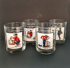 Norman Rockwell Arby's Pepsi Glasses 1979 Set Of 4 Complete Winter Scenes 1-4
