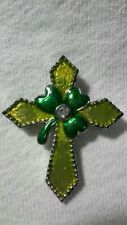Ganz Irish Blessings Enamel and Crystal Shamrock Cross Pin