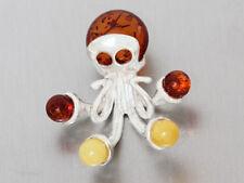 Anhänger Silber 925 Oktopus Bernstein mehrfarbig echter Silberanhänger massiv