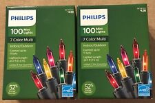 Christmas Philips Mini Lights Indoor/Outdoor Multi-Color Bulbs 2 box of 100 NEW
