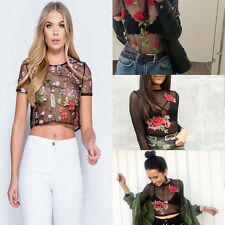 Fashion Floral Embroidered Mesh Sheer See Through Black T-shirt Crop Tops Blouse