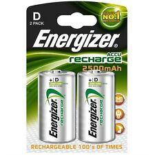 Energizer D Pilas Recargables 2 Pack 2500 Mah Batería Nuevo Libre De Correos