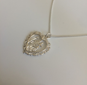 Brand New 925 Sterling Silver Fancy Heart St. Christopher Pendant/Necklace