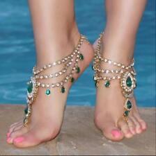 Emerald Green Jeweled Barefoot Sandals